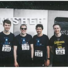 From left to right: Ephraim Fuchs, Matthias Stahl, Sebastian Cammerer, Sebastian Dörner Participants in Campus Run 2019